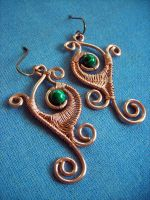 Malachite Leaf Earrings by pikabee