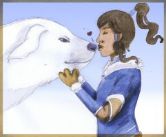 Korra and her Polar-Bear-Dog? by Chouly-only