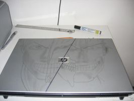 HP Laptop Anime Drawing by yair23