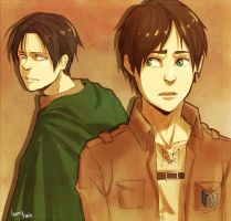 Rivaille and Eren by loonytwin