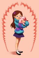 Mabel floating in a pinkgrey void by It-is-a-circle