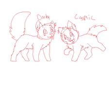 Chibi Darky And Cosmic by gone-from-deviantart