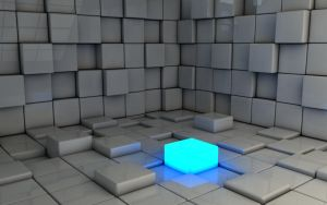 Glowing blue cube space by Dracu-Teufel666