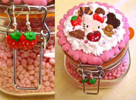 Decoden Sweet Jar and Earrings by angel-kitty