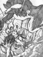 Lara vs the Wolves by Anmph