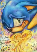 Sonic's heart is made of Gold - Colour pencil by MissTangshan95