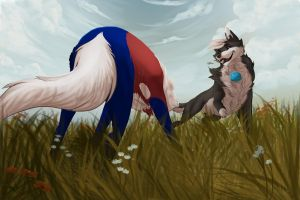 Amongst the Flowers by Snowfirewolf