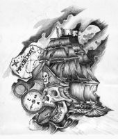 Pirate Ship Skull Tattoo design by GriffonGore