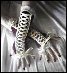 Wine - Lace Corset Arm Warmers by ZenAndCoffee