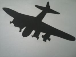 Aeroplane cut out on black card by andrea-gould