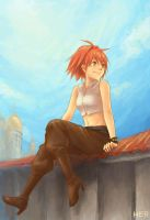 Adel on the roof by herhuahed