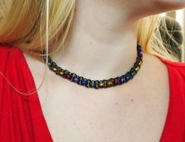 Rainbow and Black Helms Weave Necklace by ofmyhats