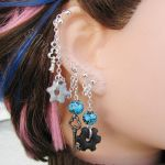 Key and Cog Silver and Blue Chain Earrings by merigreenleaf