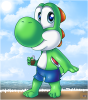 Yoshi on the beach  by HG-The-Hamster