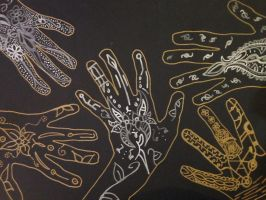 (9th Grade) Tribal Hand Markings Project by MechaMoonStone