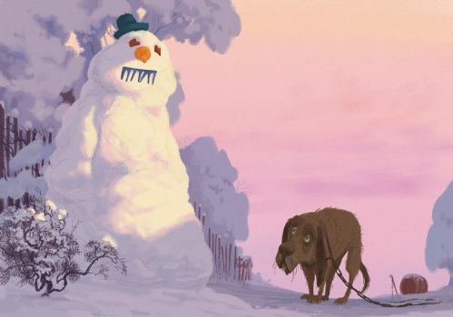 The dog and the snowman by T-U-L-P