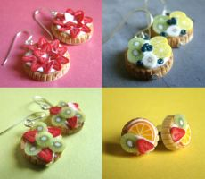 Miniature Fruit Tart Earrings by PetitPlat