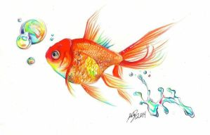 Rainbow Goldfish Print by Lucky978