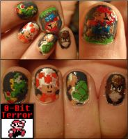 mario 8 bit nails by Ninails