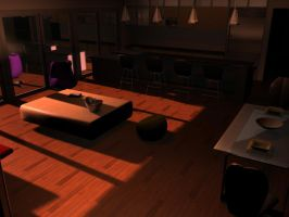 1st 3D Room sunset by JakeGreen