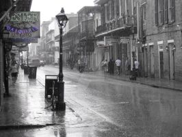Corner of Bourbon St. and Rain by LDCre8tive