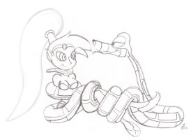 Kaa and Shantae Redraw Sketch by lol20