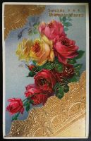 Gilded Age Birthday Postcard with Roses by KarRedRoses