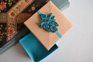 Turquoise Quilling Origami Gift Box by ReverseCascade