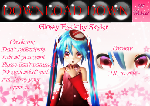 MMD: Glossy Eye Textures (Download down) by PrincessSkyler