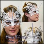 White Venetian Filigree Unicorn Mask by DaisyViktoria