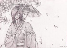 Emo under the cherry tree by korento