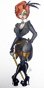 Steampunk costume sketch by LuxeLibrarian