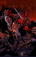 Hellboy and Buffy Battle by imafrakkincylon