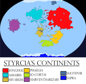 Alternate Earth - Styrcia's Continents by Sharklord1