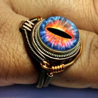 Blue Fire Dragon Eye Steampunk Ring by CatherinetteRings