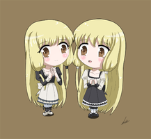 Chise and Chiho Mihara (Chibi) by Alulle