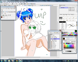Miku and Gumi WIP xD by Sa5mmychan