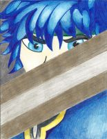 Blue Hair, Blue Eyes, Gold Sword by AloveN