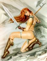 Red-sonja-in-scale-armor-gaunlet-and-knee-high by talha122