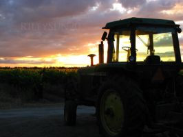 Tractor at sunset by rileysun20