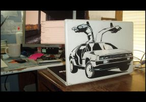 Delorean Panda Macbook by truemarmalade