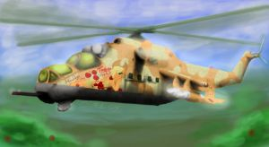 Applejack in an Mi 24 Hind by TatterTailArt