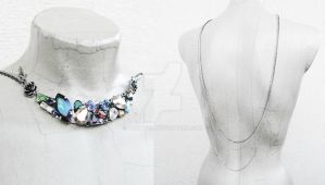 Crystal Bib Necklace with BackDrop chains by Aranwen