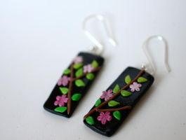 Sakura-branch Earrings [fimo] by PaleMint