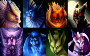 REALLY PISSED EEVEELUTIONS by FlippingChicken