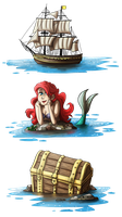 Pirates, mermaid and gold by ZeTrystan