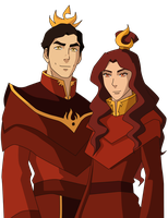 Commission: Fire Lord and Fire Lady Spirit by johngreeko