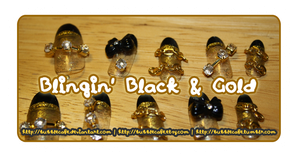 Blingin' Black and Gold Nails by BubbleCafe