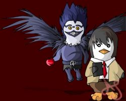DN Penguins- Light and Ryuk by Akei-Tyrian