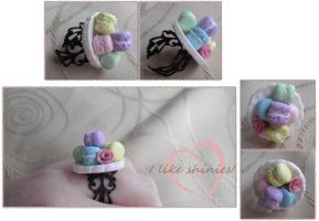 Pastel Macaron Fancy ring by ilikeshiniesfakery